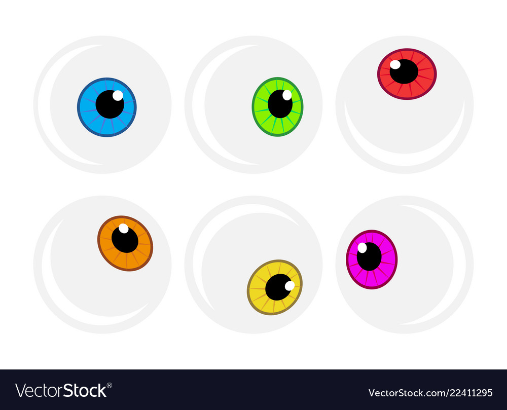 Halloween eyeball symbol set colorful cartoon.
