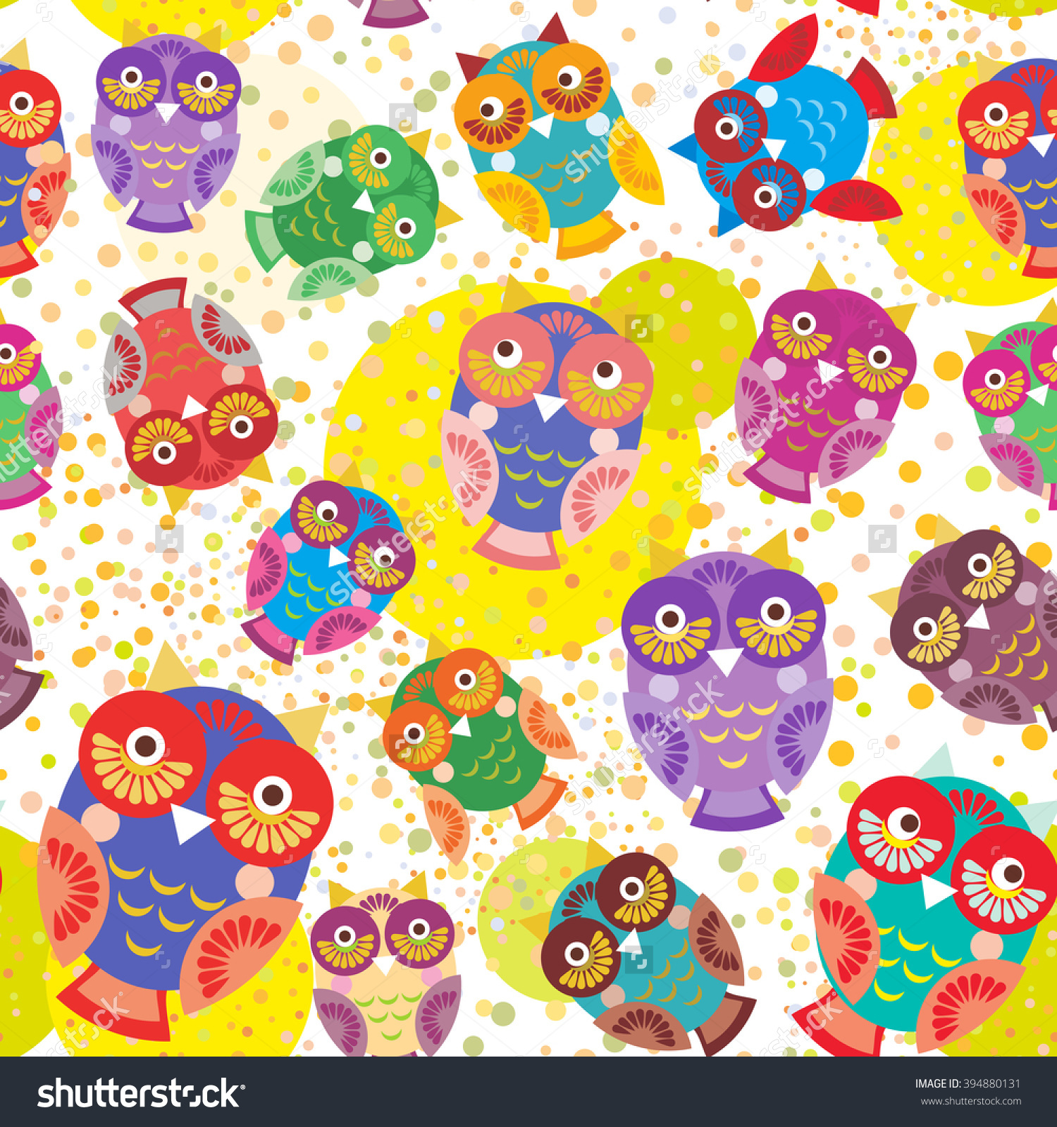 Seamless Pattern Bright Colorful Cute Owls On White Background.