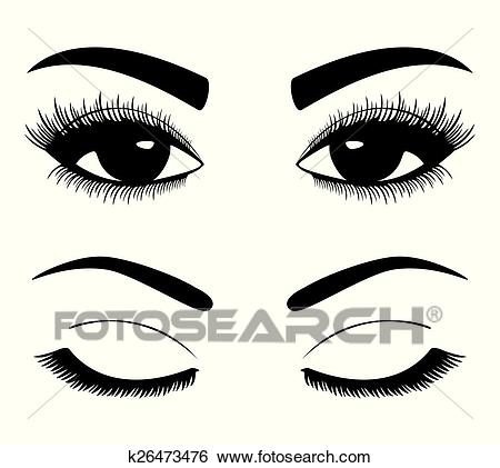 Silhouettes of eyebrows and eyes Clip Art.