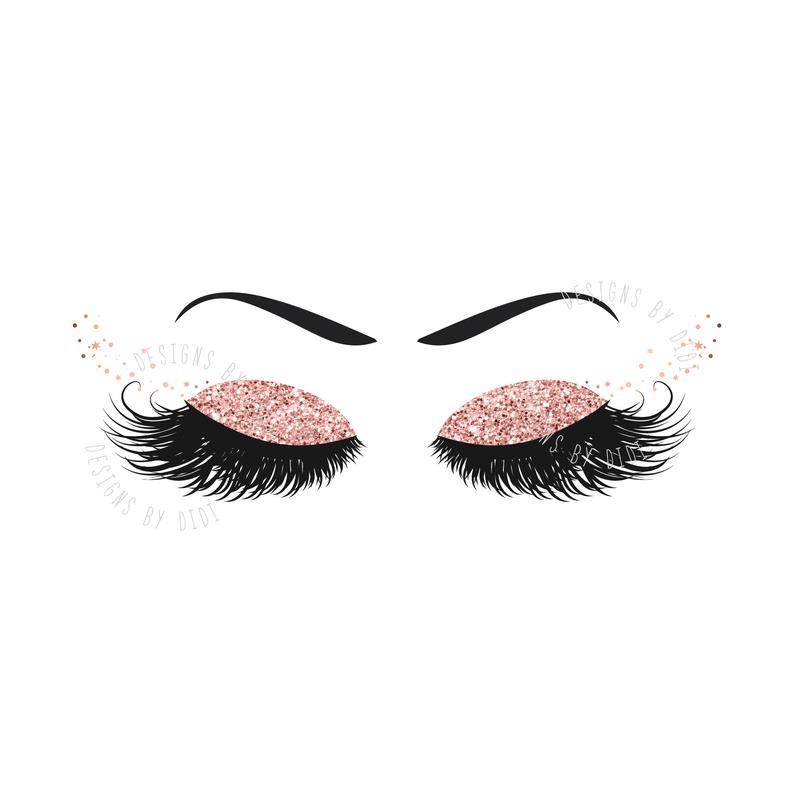 Instant Download, Lash Clipart, glitter rose gold lashes clip art, glitter  lash image, instant download lashes clip art, lash logo pink gold.