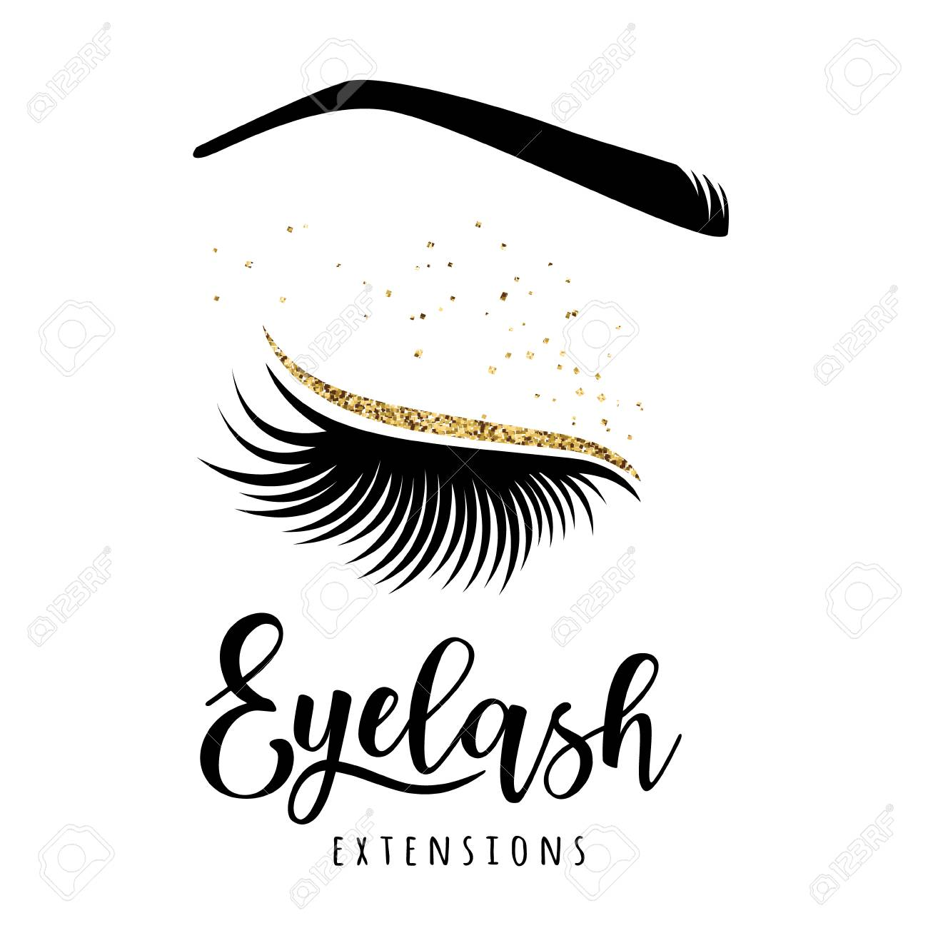 Eyelash extensions logo. Vector illustration of lashes. For beauty...