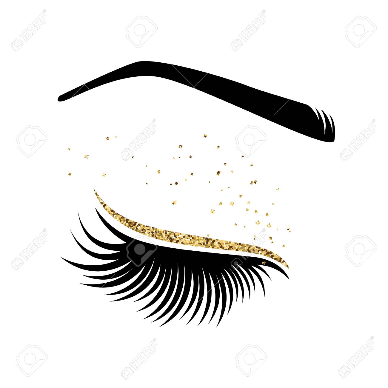 Eyelash extension logo. Vector illustration of lashes. For beauty...