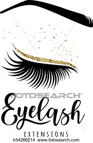 Eyelash extensions logo Clipart.
