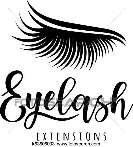 Eyelash extension logo Clipart.
