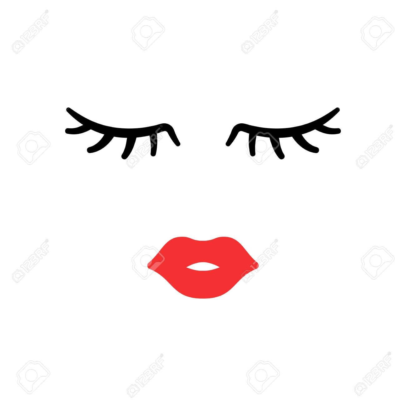 Woman face. Beauty concept. Eyelashes and lips. Make up. Vector...
