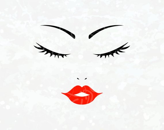 Woman Face SVG Eyelashes SVG Red Lip svg Barber svg Salon svg Makeup.