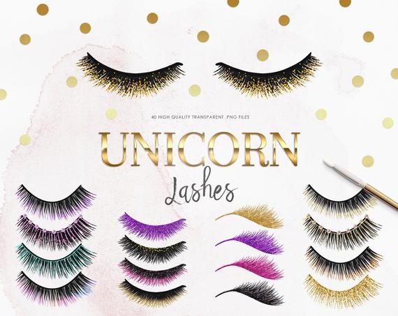 40 Unicorn Eyelash Clipart.