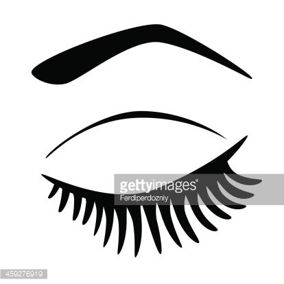 Eye closed with long eyelashes Clipart Image.