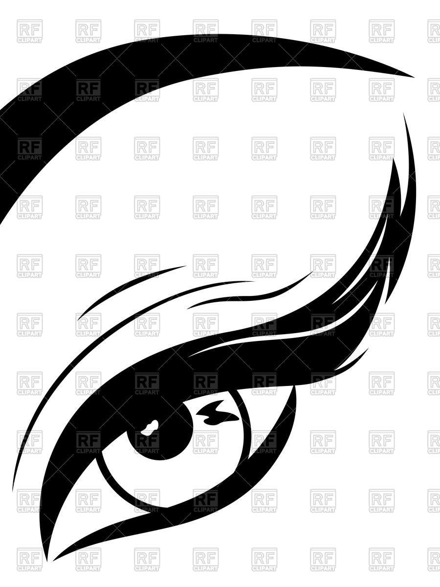 Eye with fluffy eyelid Vector Image #66799.