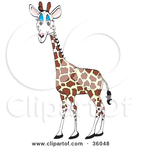 Clipart Illustration of a Cute Giraffe With Blue Eyelids by Dennis.