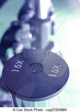 Pictures of Microscope eyepiece and blurred Microscopes in a row.