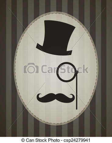 Drawing of Vector Retro Gentleman Accessories: Top Hat, Eyepiece.