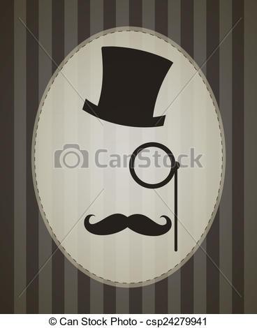 Drawing of Vector Retro Gentleman Accessories: Top Hat, Eyepiece.