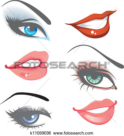 Clip Art of Lips & eyes set k11059036.