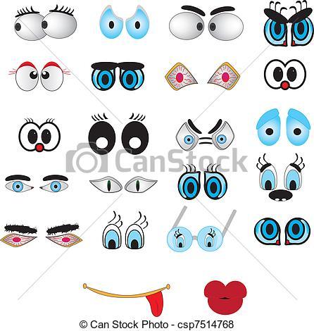 Vector Clip Art of Kawaii cute eyes and lips icons set.