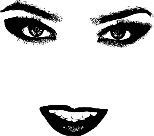 swicked womans face eyes and lips digital image graphics download.