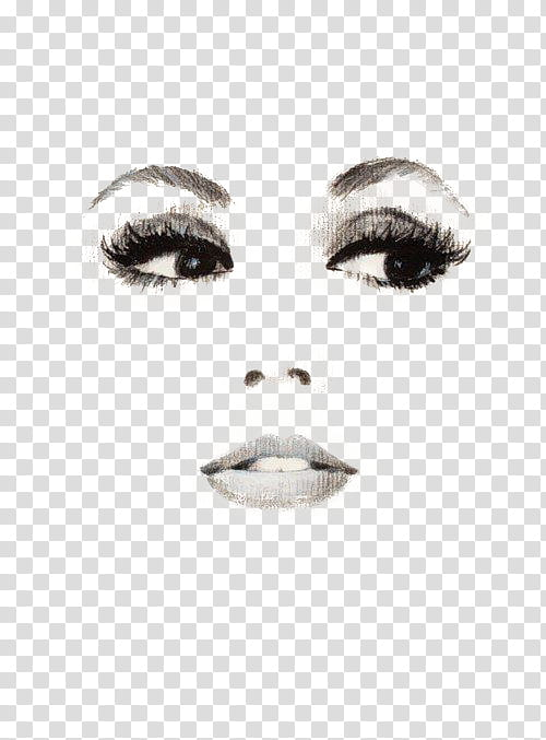 Vol , woman eyes, nose, and lips artwork transparent background PNG.