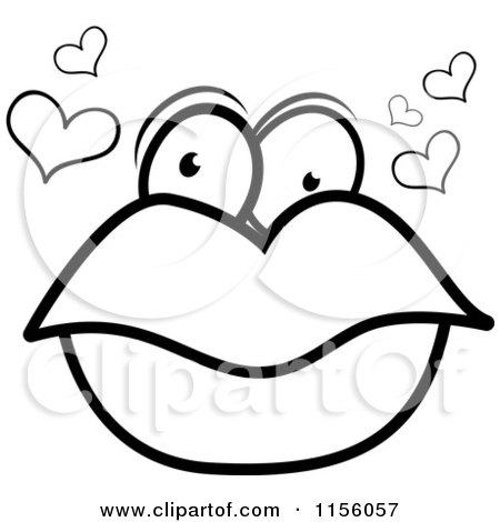 Cartoon Clipart Of A Black And White Pair of Lips with Eyes and.