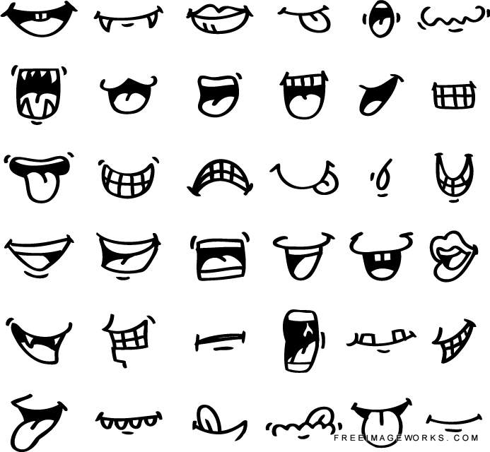 hand draw cartoon mouth icon adorable, angry, caricature, cartoon.