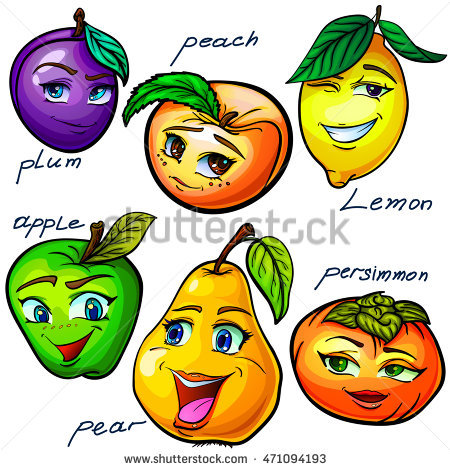 Hand Drawn Set Funny Cartoon Fruits Stock Vector 471094193.