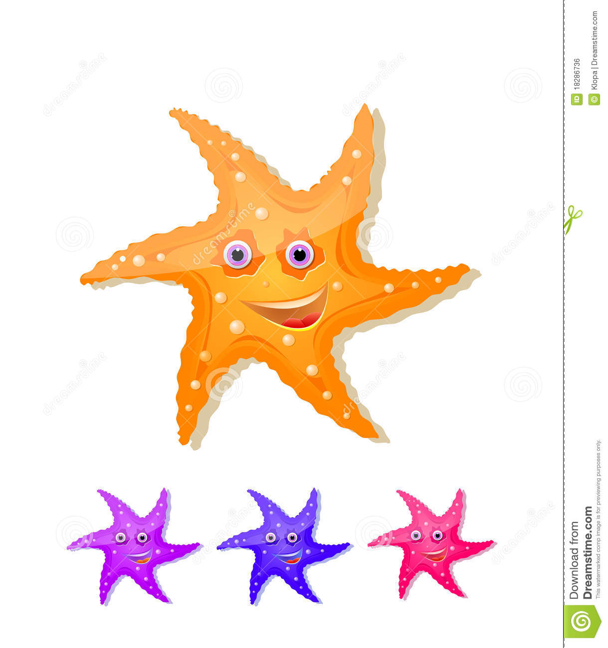 Starfish With Eyes And Smile Icon Set Royalty Free Stock Image.