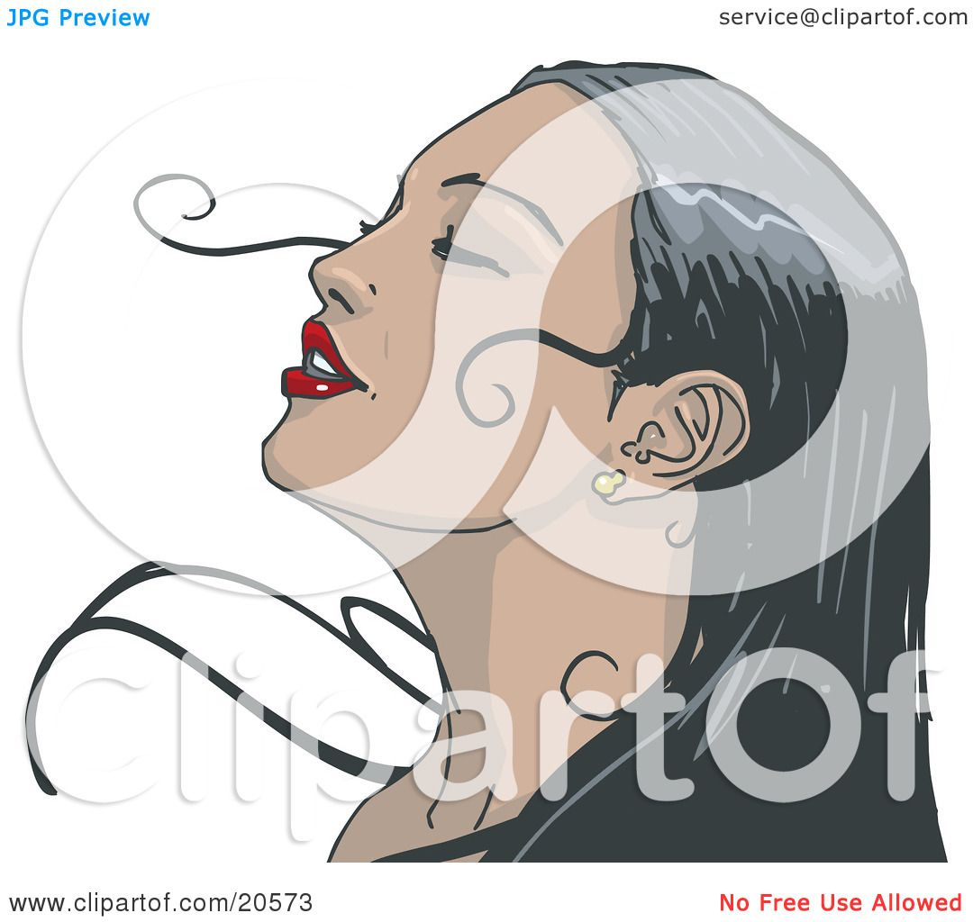 Clipart Illustration of a Beautiful Black Haired Woman With Red.