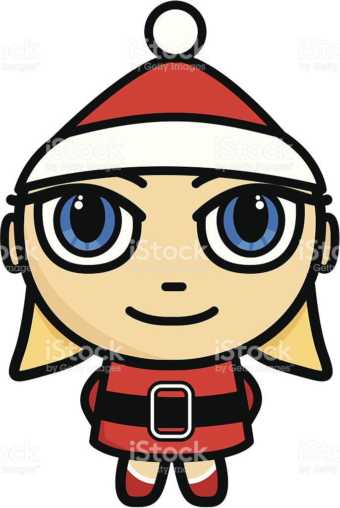 Santa Girl Cartoon stock vector art 165941721.