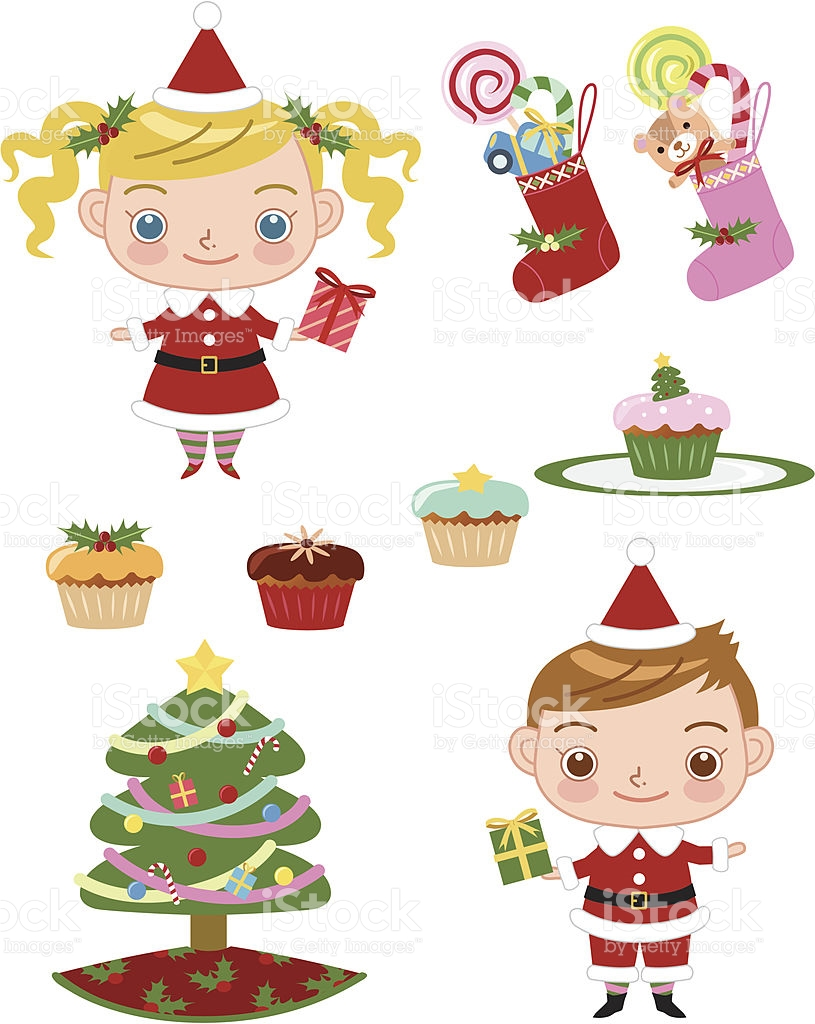 Pretty Santa Girl And Boy stock vector art 164528814.