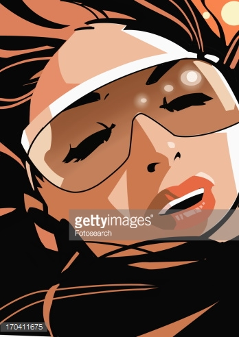 Closeup Of Woman Wearing Sunglasses With Eyes Closed Stock.