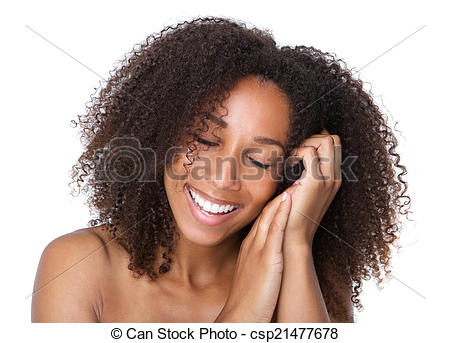 Picture of Young woman smiling with eyes closed.