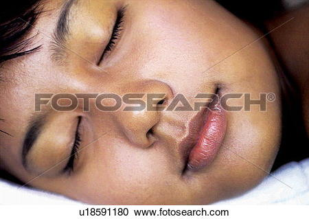 Stock Photography of Black Hair, Eyes Closed, Close.