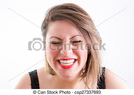 Stock Photographs of Woman Face in Toothy Laugh with Eyes Closed.