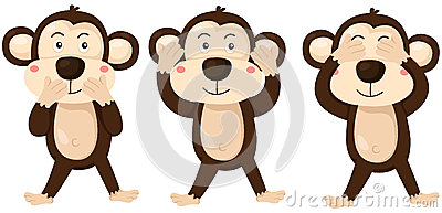 Cartoon Monkeys Covering Eyes, Ears And Mouth Stock Vector.