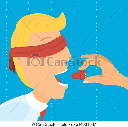 Vector Clipart of Eating strawberry with eyes covered csp14001307.