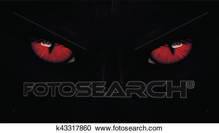 Red eyes black Panther on dark Clipart.