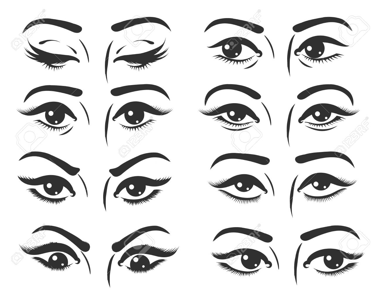 Set of female eyes. Beautiful female eyes with different expression.
