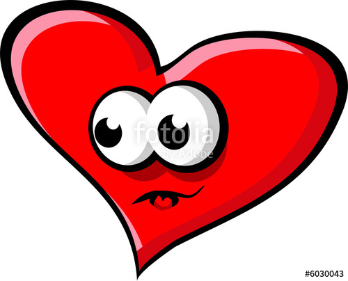 Big red heart with eyes and mouth looking left