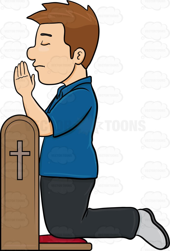 A Man Closes His Eyes In Concentration To Pray To God Cartoon Clipart.