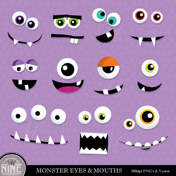 monster eyes clipart black and white - Clipground
