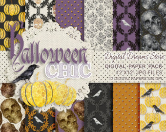 Digital Paper Pack and Clipart Owls Stories Halloween Personal and.