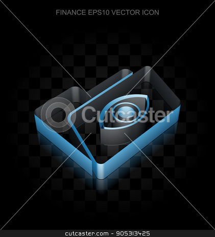 Finance icon: Blue 3d Folder With Eye made of paper, transparent.
