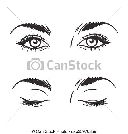 Clipart Vector of Beautiful eyes open, closed vector.