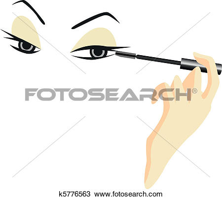 Clipart of Eyes Sketch with Make Up k5776563.