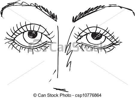 Clip Art Vector of Outlined sketch of Cartoon Eyes. Vector.