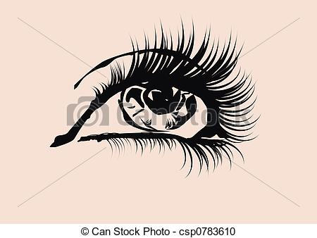 Stock Illustration of eye in close up ,high detailed,glam style.
