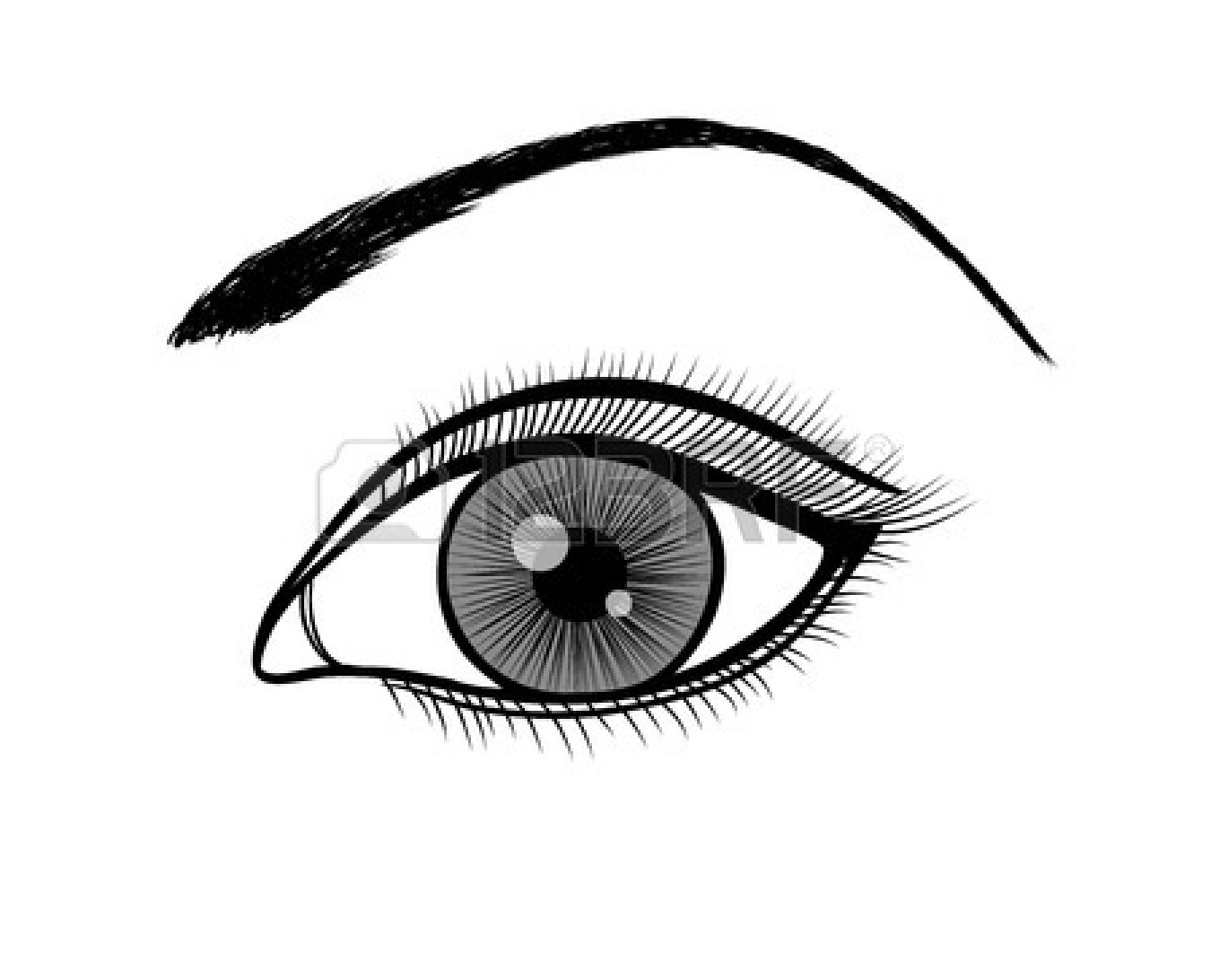 Black and white female eyes clipart.