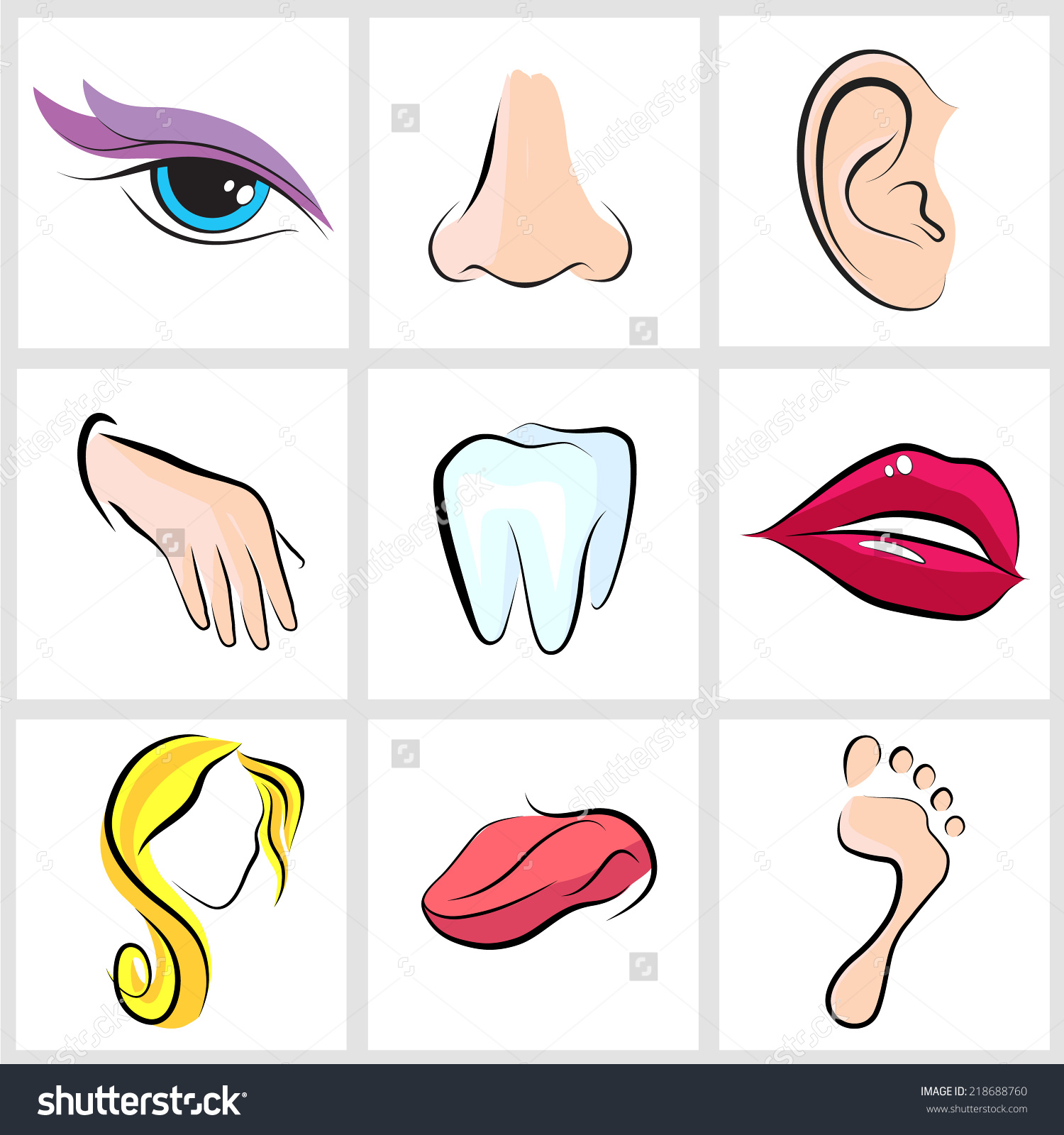 Set Icons Flat Parts Human Body Stock Vector 218688760.