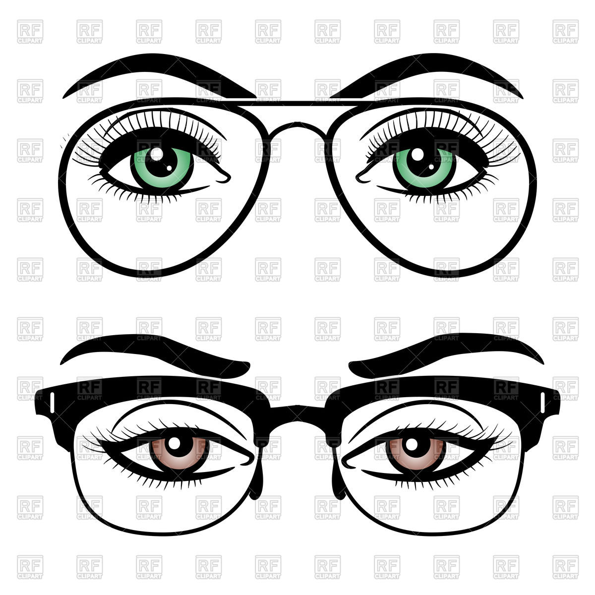 Female eyes with glasses isolated on white background Stock Vector Image.