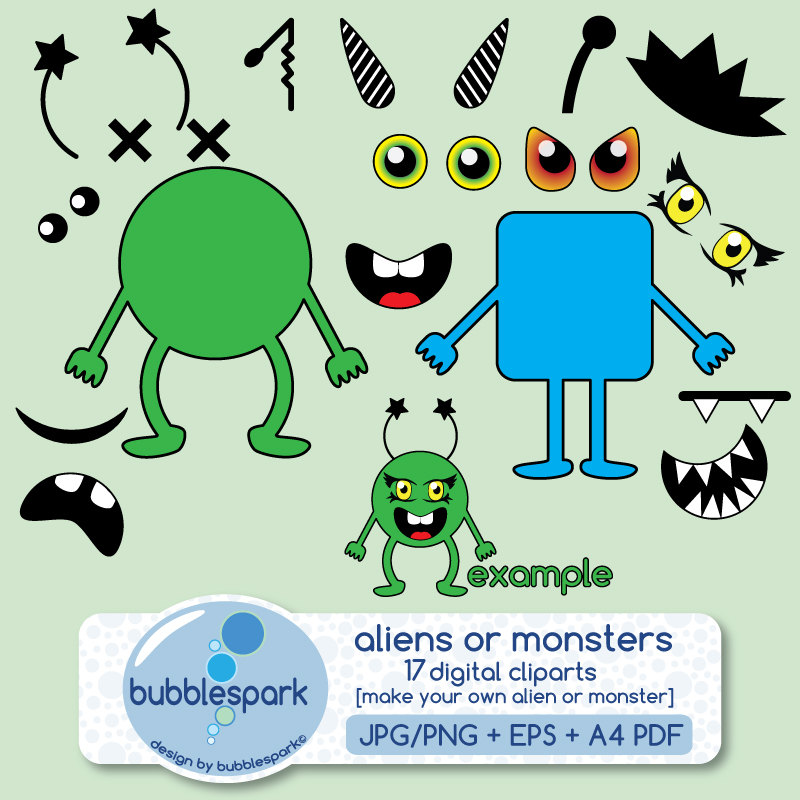aliens or monsters digital clip art pack body shapes eyes.