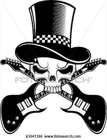 skeleton with guitar images.